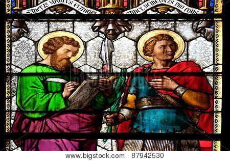ZAGREB, CROATIA - APRIL 04: St Mark and St Demetrius, stained glass in Zagreb cathedral dedicated to the Assumption of Mary and to kings Saint Stephen and Saint Ladislaus in Zagreb on April 04, 2015