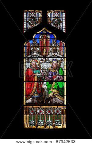 ZAGREB, CROATIA - APRIL 04,2015: St Quirinus of Sescia and Blessed Agostino Gasotti, stained glass in Zagreb cathedral dedicated to the Assumption of Mary and to kings Saint Stephen and Saint Ladislaus