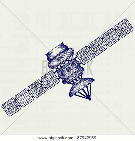 Satellite with dish antenna