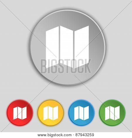 Map Icon Sign. Symbol On Five Flat Buttons. Vector