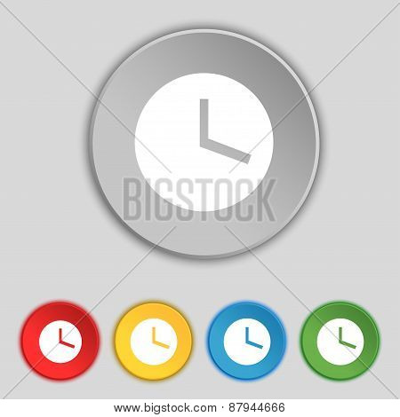 Mechanical Clock  Icon Sign. Symbol On Five Flat Buttons. Vector