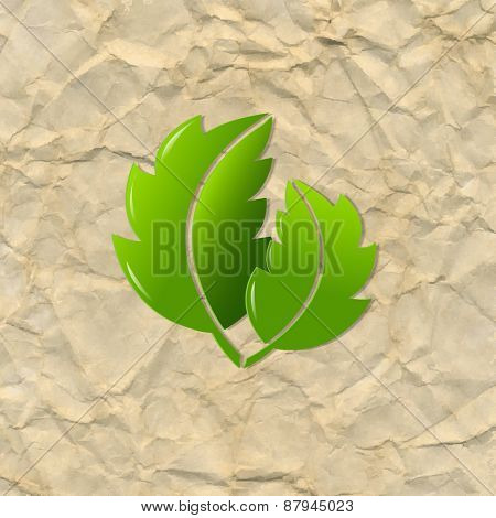 Crushed Brown Paper With Leaves, Vector Illustration