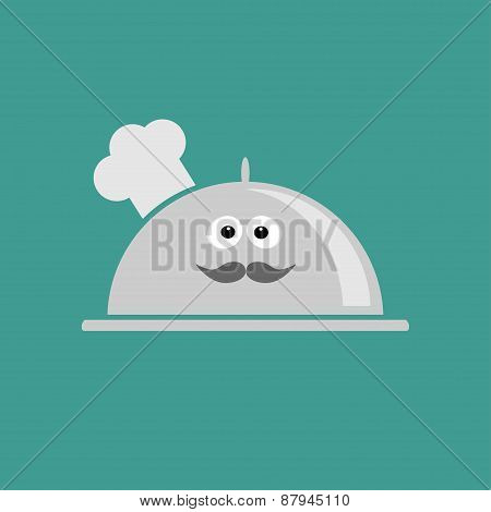 Silver Platter Cloche Chef Hat With Eyes And Moustache. Flat Design
