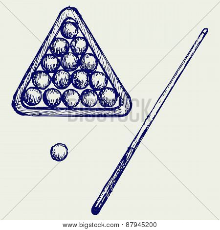 Illustration of billard cues and balls