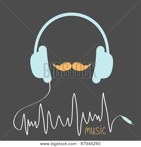 Blue Headphones With Cord. Orange Moustaches Music Card. Flat Design