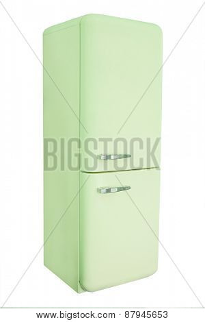 Retro pink refrigerator isolated under the white background