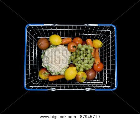 Shopping basket with fruit and veg