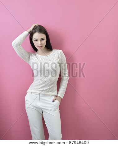 Portrait of young fashion girl, toned