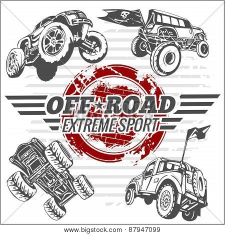 Vector emblem with off-road cars