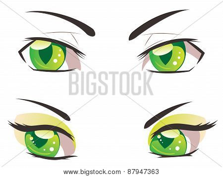 Cartoon Green Eyes