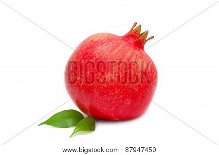 Single Pomegranate Isolated On White
