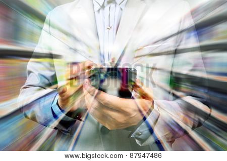 Man Using Mobile Smart Phone On Super Market Background As Double Exposure
