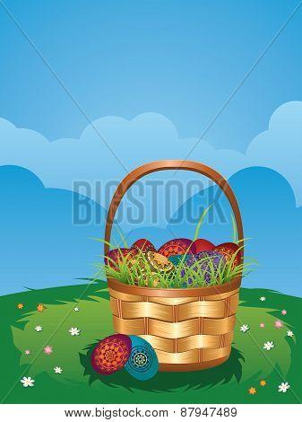Easter Basket On Lawn