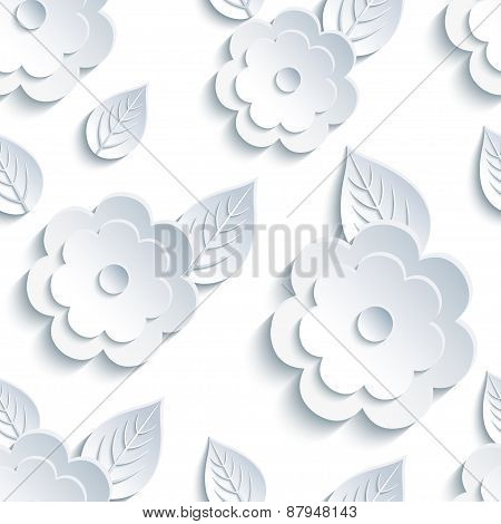 Trendy Seamless Pattern With Flowers And Leaves