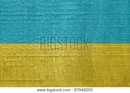 Flag Of Ukraine On Old Dried Wood Texture