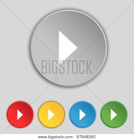 Play Button Icon Sign. Symbol On Five Flat Buttons. Vector