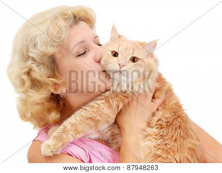 Portrait Of Senior Woman With Cat
