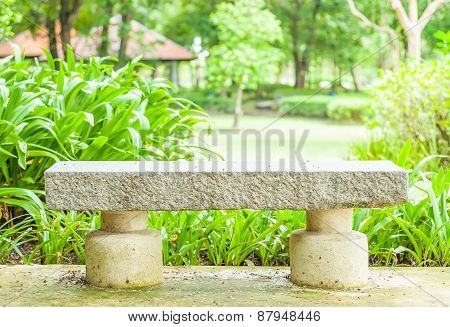 Cement Bench In The Park