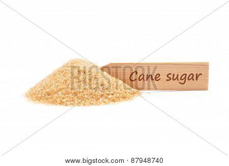 Brown Cane Sugar At Plate