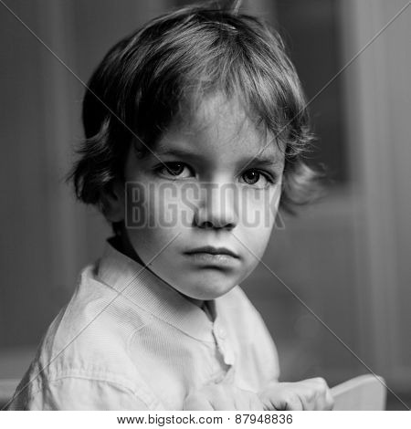 Portrait Of Serious Boy, Indoor