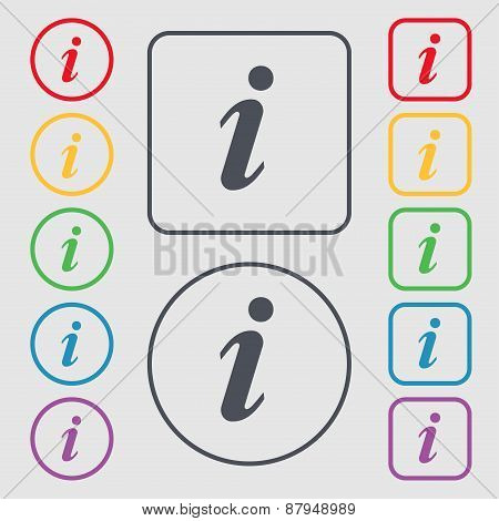 Information, Info Icon Sign. Symbol On The Round And Square Buttons With Frame. Vector