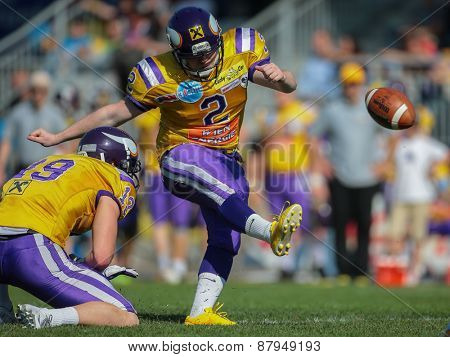 VIENNA, AUSTRIA - APRIL 27, 2014: K Christopher Kappel (#2 Vikings) kicks a PAT.