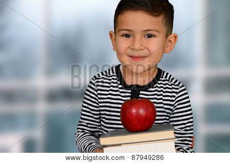 Happy little schoolboy posing with red apple