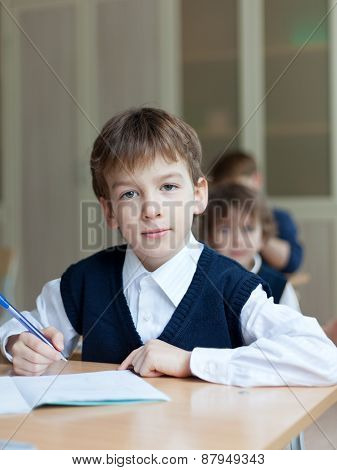 Diligent Student Sitting At Desk, Classroom