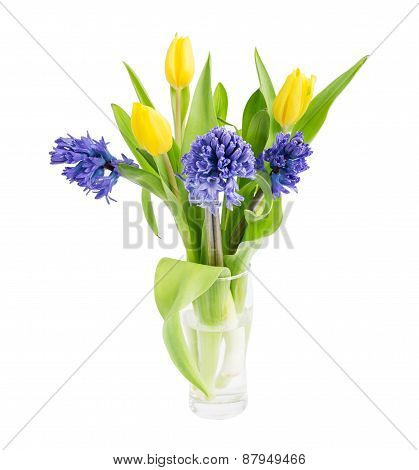 Bouquet Of Fresh Tulips And Hyacinths Isolated On A White
