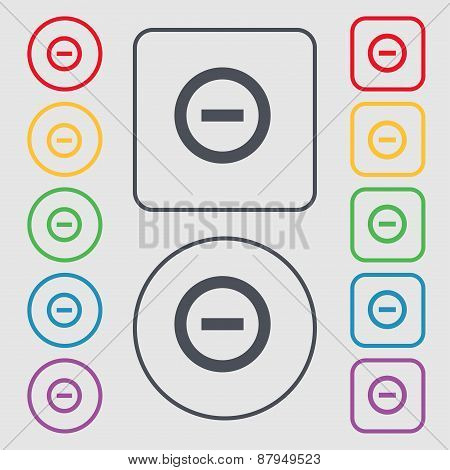 Minus, Negative, Zoom, Stop Icon Sign. Symbol On The Round And Square Buttons With Frame. Vector