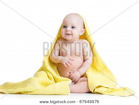 Happy Baby With A Towel After Bath