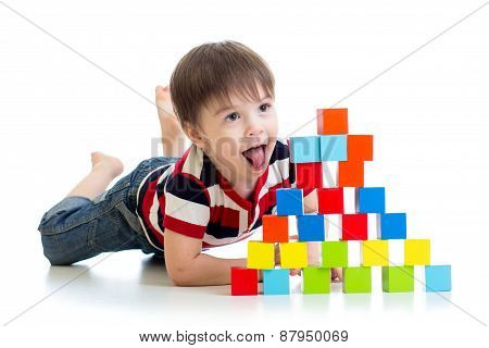 Funny Kid Playing Toy Blocks Isolated