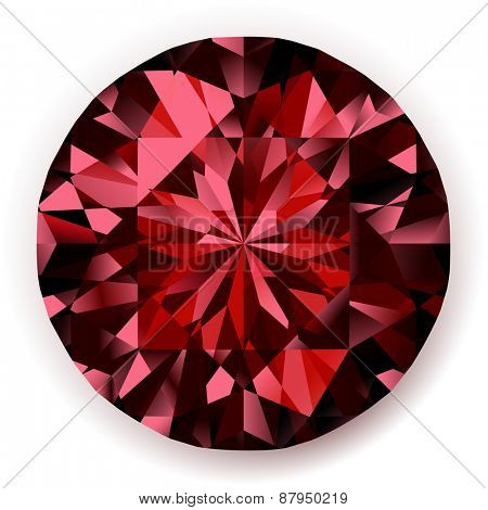 Shiny realistic ruby  on white background