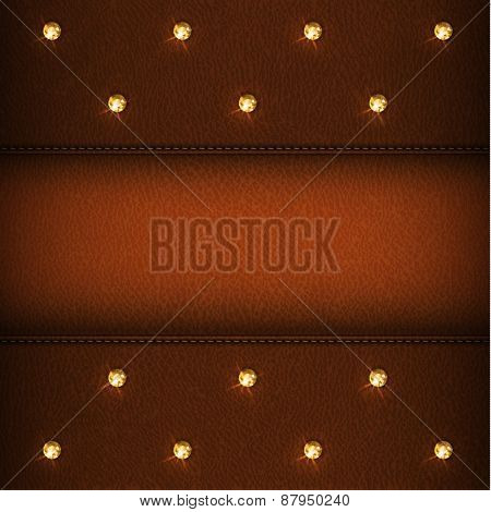 Luxury brown leather background with diamonds - eps10