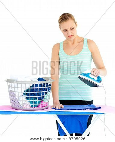 Unhappy Woman Ironing