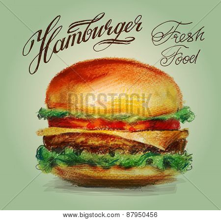 hamburger, burger vector logo design template. restaurant or fast food icon.