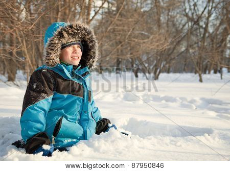 Happy Child In Winterwear