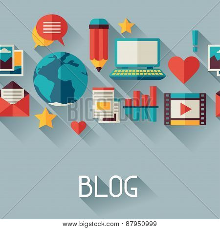 Media and communication background design with blog icons
