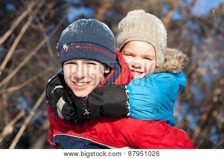 Happy Children In Winterwear