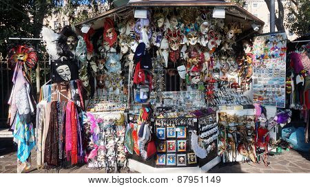 Vendors Set Up A Stall On The Street To Sell Colorful Mask To Tourist In Venice