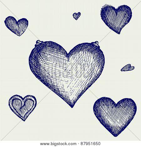 Sketch pencil. Heart