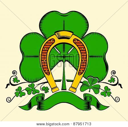 Illustration of gold horseshoe and clover.