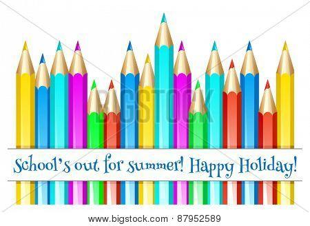 Color pencils. Happy summer holidays! Vector illustration.