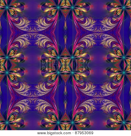 Beautiful Symmetrical Background From Fractal Tracery. On Dark-blue.
