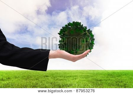 Businesswomans hand presenting against green field