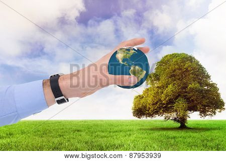 Businessman showing with his hand against tree in green field