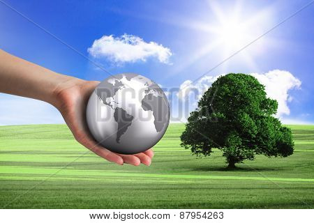 Hand presenting against sunny green landscape