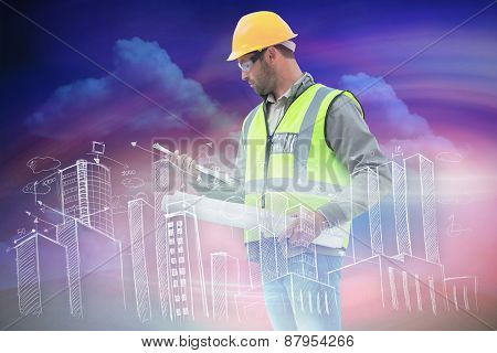 Casual architect against green field under blue sky