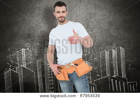 Handyman wearing tool belt with thumbs up against hand drawn city plan