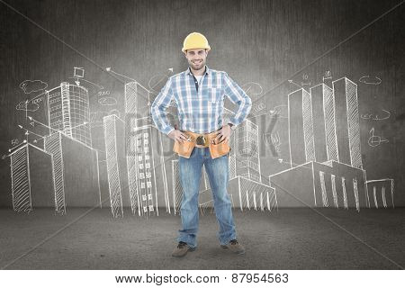Confident repairman standing with hands on hips against hand drawn city plan